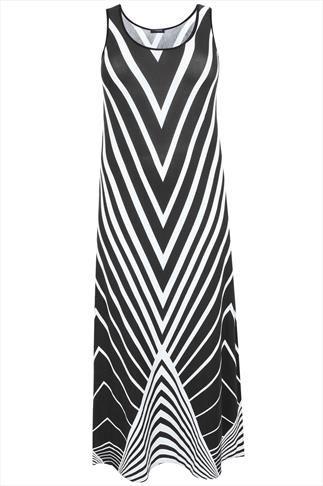 Black & White Chevron Print Jersey Maxi Dress