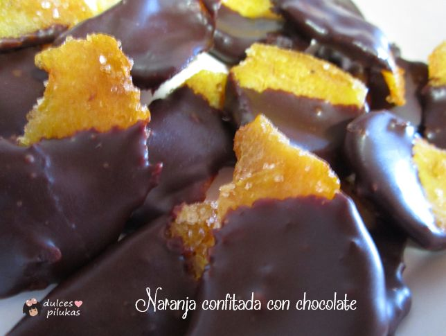 dulces pilukas: Piel de naranja confitada con chocolate