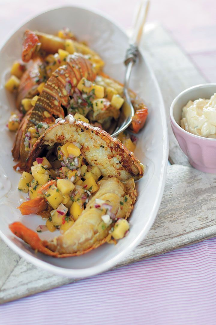 Pan-fried lobster tails with mango and mint salsa served with lemon aïoli