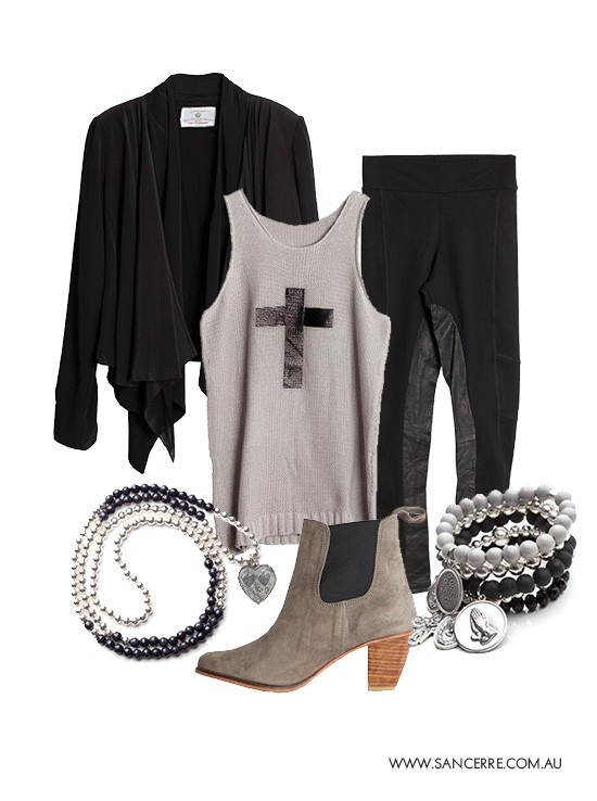 SanCerre Winter 13 - jewelry, boots, jacket, knit top and leather panel leggings. <3