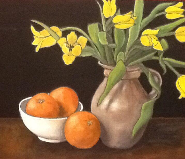 Yellow Tulips with Oranges - acrylic