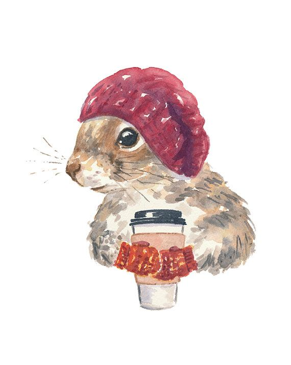 Squirrel PRINT  Watercolor PRINT Fox Squirrel by WaterInMyPaint, $10.00: