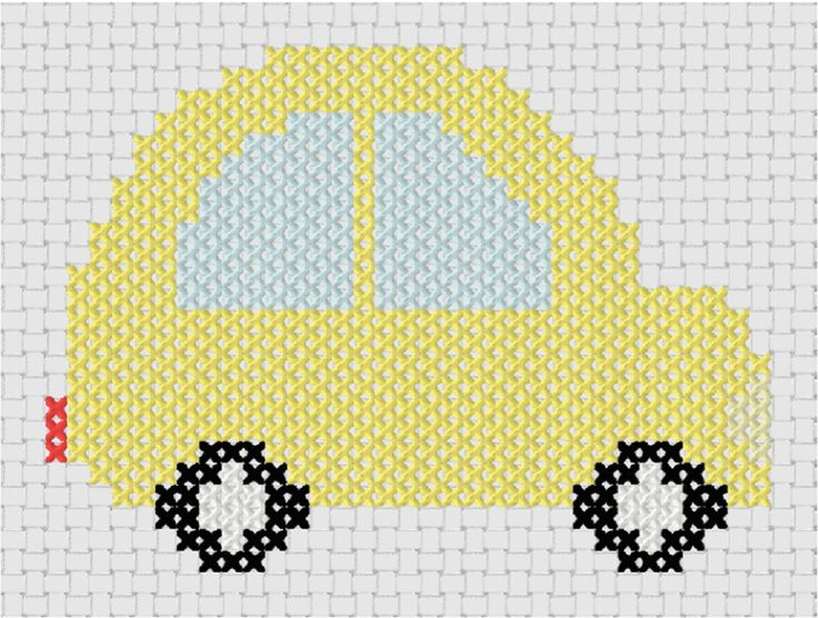 Looking for your next project? You're going to love Little Yellow Car Counted Cross Stitch by designer MelsDaisyPatch.
