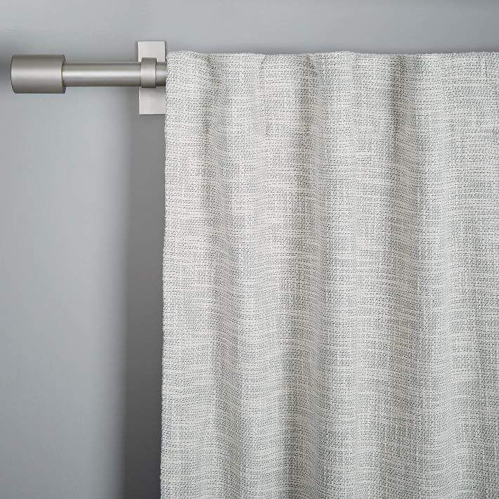 West Elm Cotton Textured Weave Curtain Blackout Lining Ivory