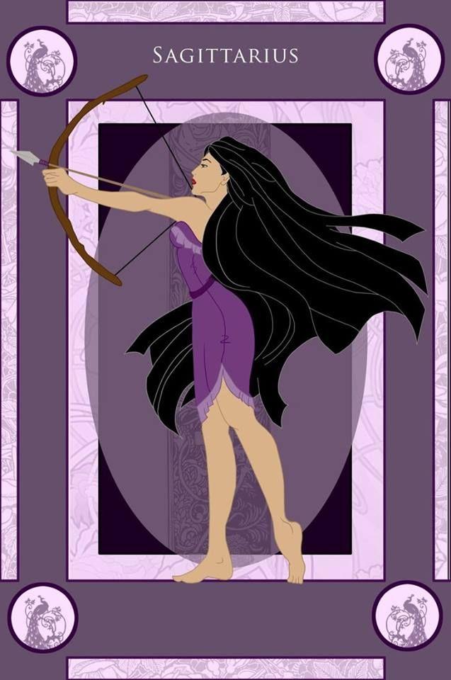 Rapunzel como Libra, Jasmin como Escorpião, Pocahontas como Sagitário e Branca de Neve como Aquário