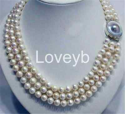 """8-9mm Natural Black Akoya Cultured Pearl Necklace 50/"""" Hand Knotted Stunning"""
