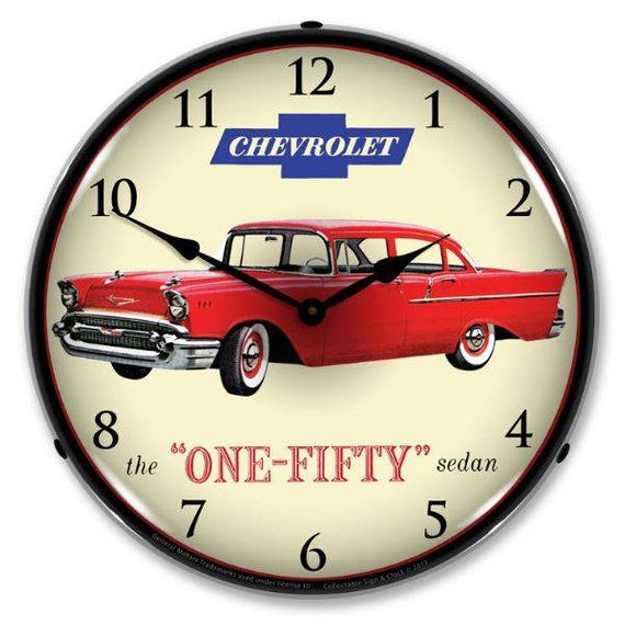 Antique Style 1957 Chevrolet One Fifty Backlit Clock 129 99 Wall Clock Light Advertising Clocks Clock
