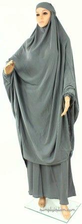 Womens 2 Piece Ehram Ahram Khimar Prayer Dress Outfit - Grey