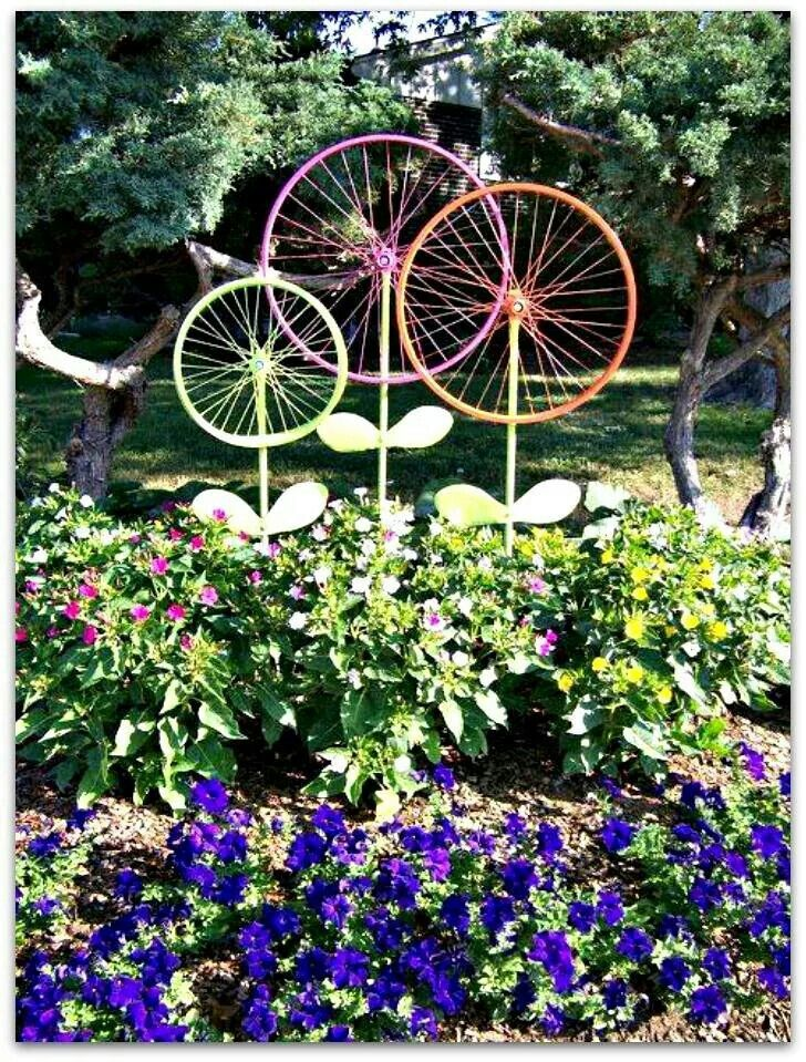 Old bicycle wheels recycled