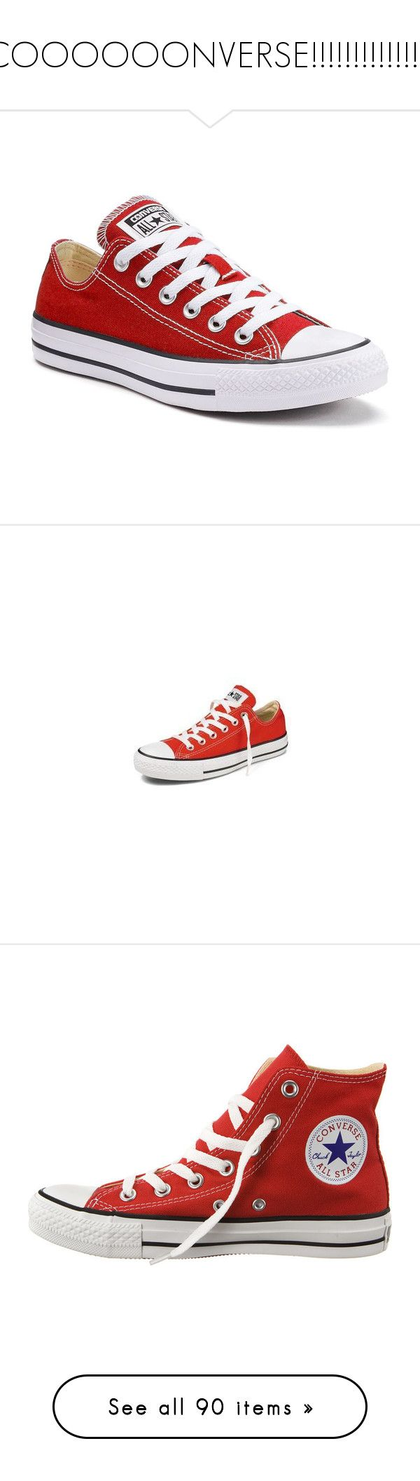 """""""COOOOOONVERSE!!!!!!!!!!!!!!!"""" by gussied-up on Polyvore featuring shoes, sneakers, converse, converse sneakers, hi top canvas sneakers, hi tops, retro sneakers, retro hi tops, red and lace up sneakers"""