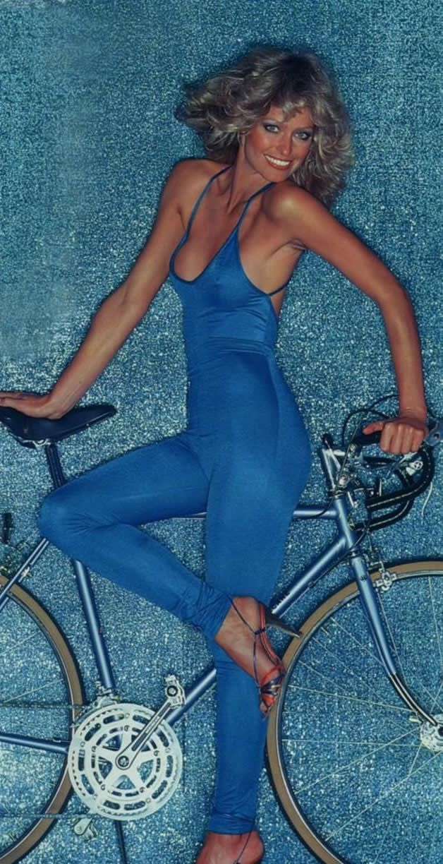 I'm sure there is some bike geek somewhere who looked at the bike first and then realized that Farrah was there.