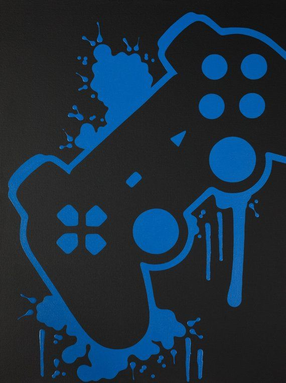 PlayStation Video Game Controller Painting, Video Game Art, Hand Painted, Custom Colors, Custom Wall – Gamer, Zocken, Daddeln, Looten & Leveln