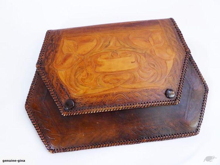 Antique Art Nouveau tooled leather clutch