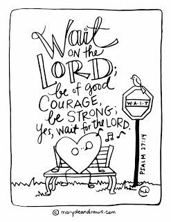 the courage to wait Psalm 27:14 Bible verse coloring page