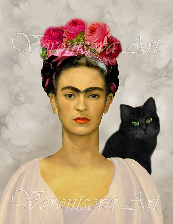 FRIDA KAHLO with Black cat . Printable collage sheet . digital graphic image download via Etsy.