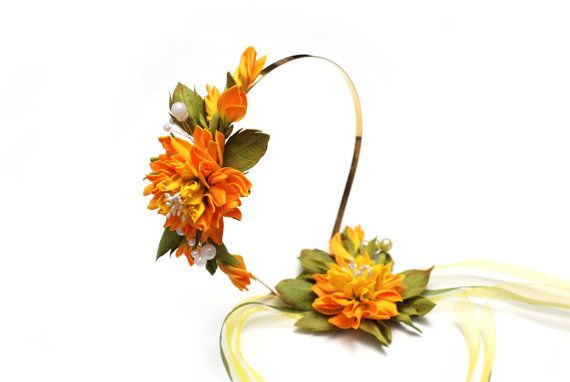 Flower tiara and bracelet handmade made to order от BeeJouByElena