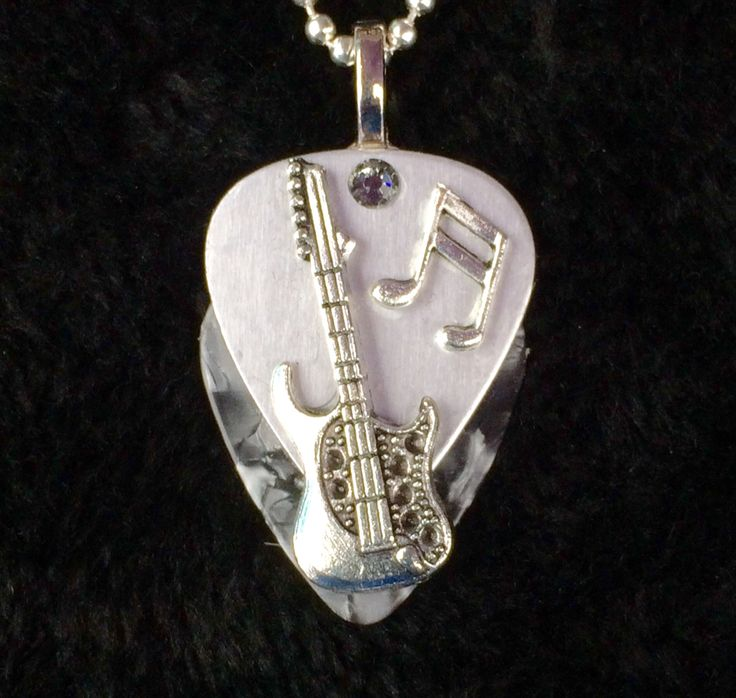 Silver Metallic/Silver Strat guitar pick Pendant with bar note $28 - Contact us thru website