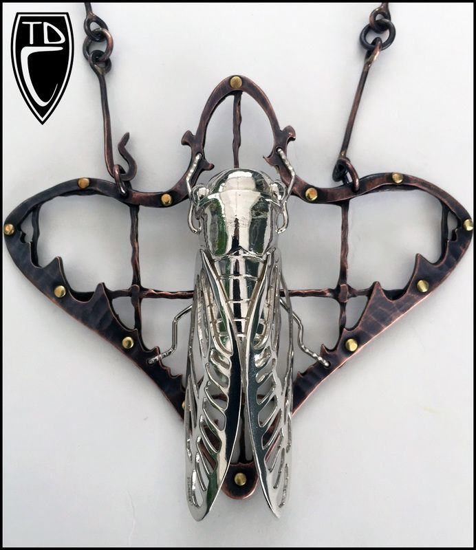 Todd Conover Cicada Bug, 2015 fold formed and fabricated sterling silver, copper, brass pendant 4.25x4""