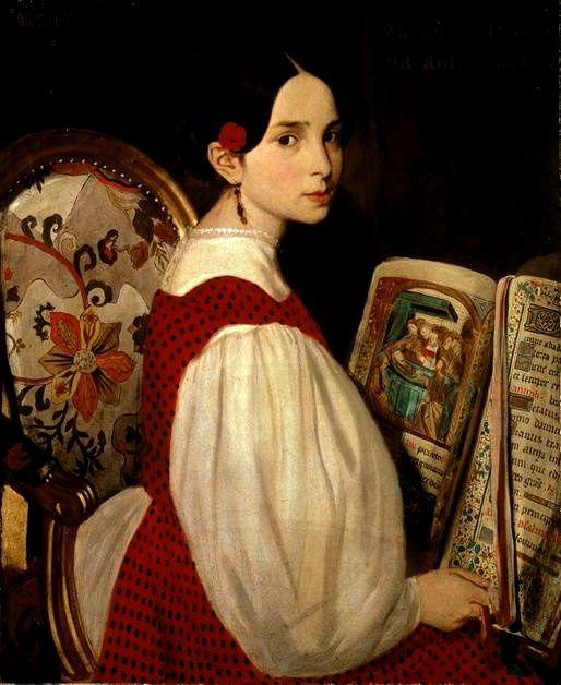 """""""Léopoldine au livre d'heures"""" by Auguste de Chatillon (1813 - 1881): Women Reading, Victor Hugo, Art, Painting"""