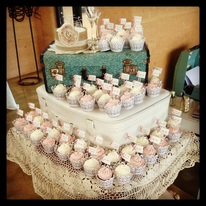 Use vintage suitcases for a cake stand, country rustic and unique, lace wrapped cupcakes, tandem bicycle cake topper, little mini toppers Saying love is sweet and eat me! #nelson wedding eurosuzy@hotmail.com for info @Juanita Martin❤ Western Australia