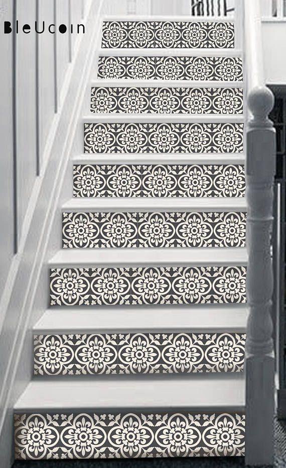 Encaustic Moroccan Tile Wall Stair Floor Self Adhesive Vinyl Stickers Kitchen Bathroom Backsplash Carrelage Decal Peel Stick Home Decor Flooring For Stairs Foyer Decorating Stair Riser Vinyl