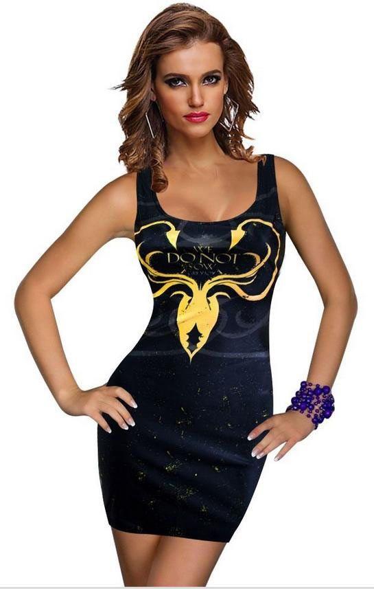 Vestido de tirantes Casa Greyjoy. Juego de Tronos Elegante y sexy vestido inspirado en la serie de Tv Juego de Tronos, con el logo de uno de los Reinos, Casa Greyjoy.