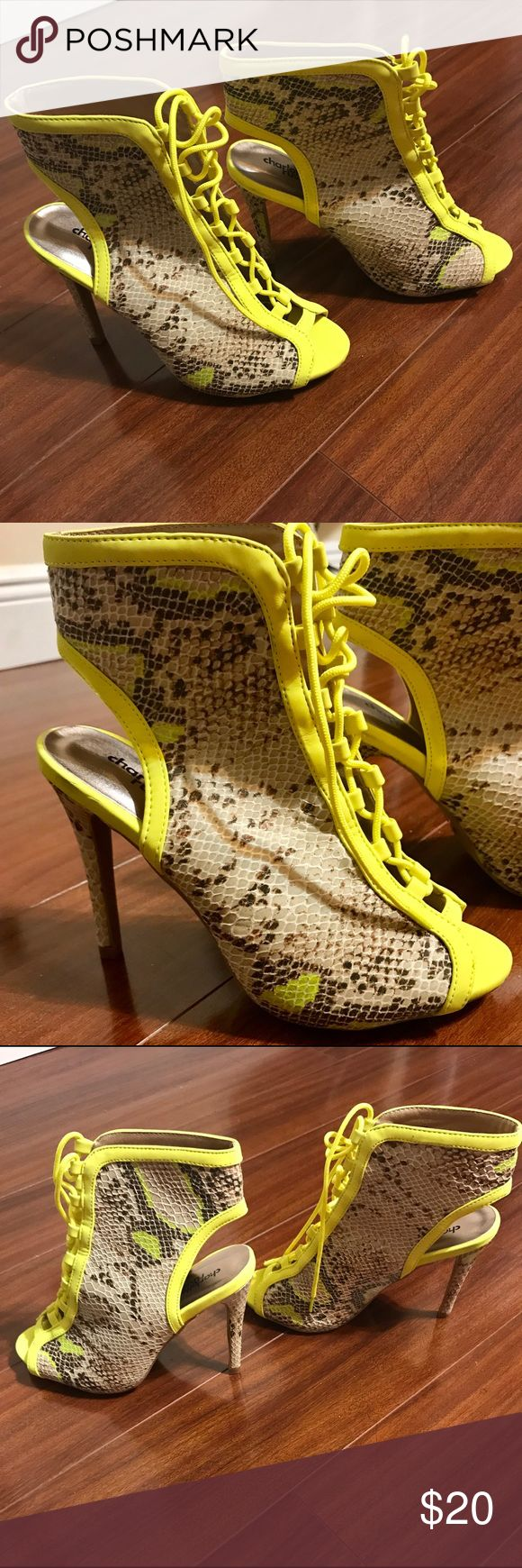 Charlotte Rouse Shoes Brown snake skin leather- color and yellow new shoes, Open toe, 4 1/2 inches high heels Charlotte Russe Shoes Heels