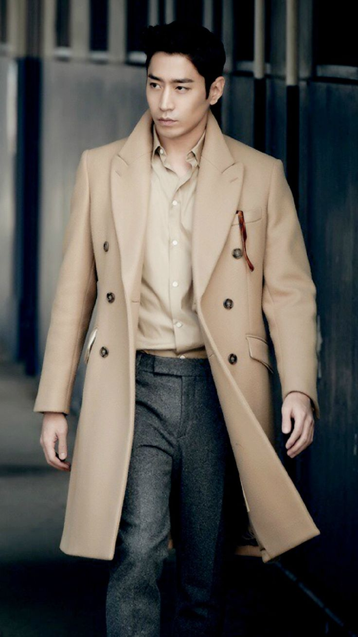 men's winter camel coat, gray wool pants // Eric Mun Shinhwa