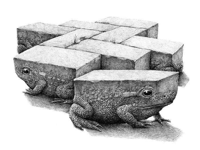 Un artiste Redmer Hoekstra invente le train tracté par un rhinocéros et la bananebateaubaleine
