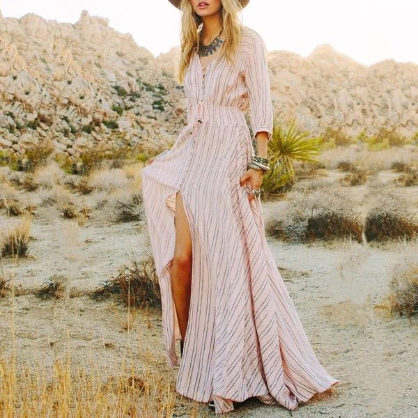 Autumn Summer Sexy Split Maxi Dresses Boho Long Dress Elegant Beac... (93 BRL) ❤ liked on Polyvore featuring dresses, gowns, sexy long evening dresses, sexy evening gowns, striped maxi dress, long maxi dresses and sexy gowns