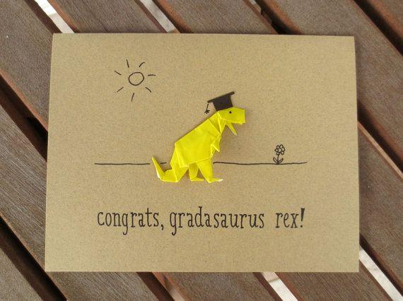 funny graduation card origami card dinosaur card by FubiniCrafts