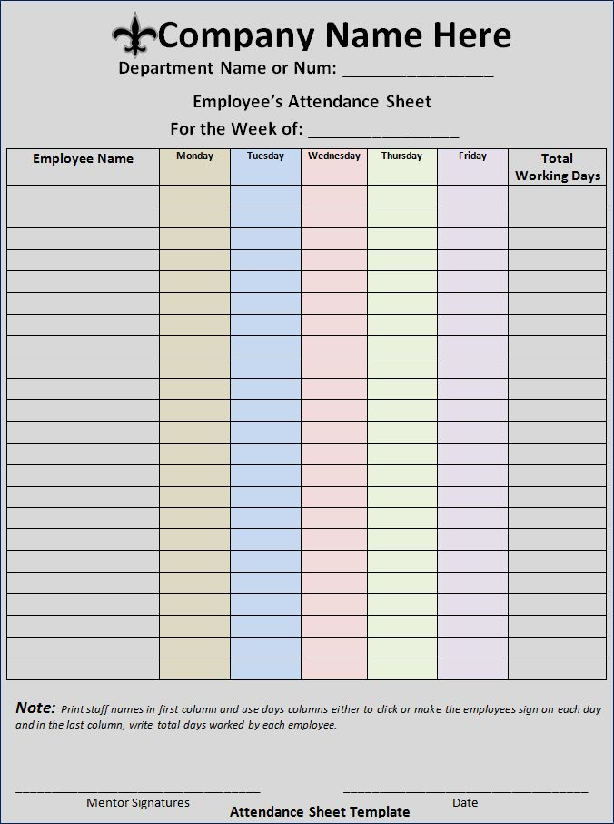 The 25 best ideas about Attendance Sheet Template – How to Make a Sign in Sheet in Word