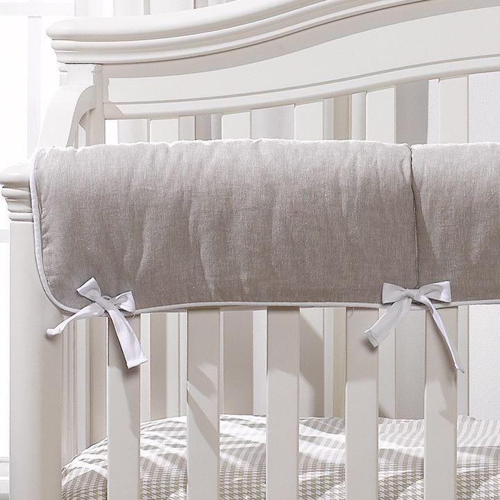Flax Linen Crib Rail Cover Liz And Roo Fine Baby Bedding