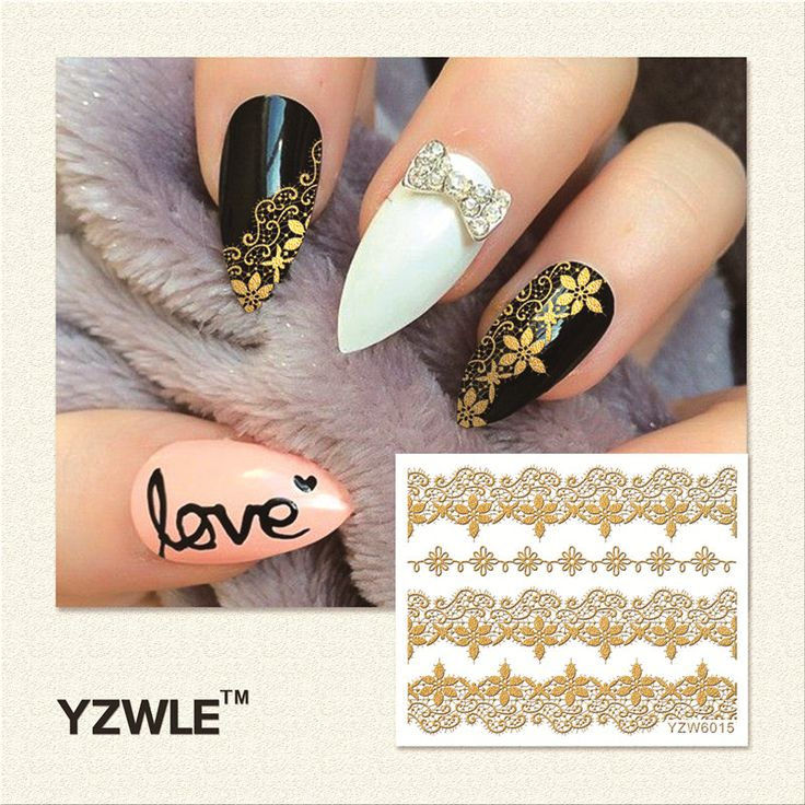 YZWLE 1 Sheet  Hot Gold 3D Nail Art Stickers DIY Nail Decorations Decals Foils Wraps Manicure Styling Tools (YZW-6015)