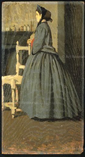 , Bonnet, Hat, Painting, Medium, Portrait, Woman; Giuseppe Abbati (1836-68); Portrait of a woman, 1865-1866