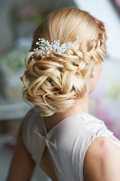Wedding hairstyle, updo, low bun, braid. Clip-In Hair Extensions #613 Bleach Blonde and #16 Golden Blonde. www. AtelierKD.com