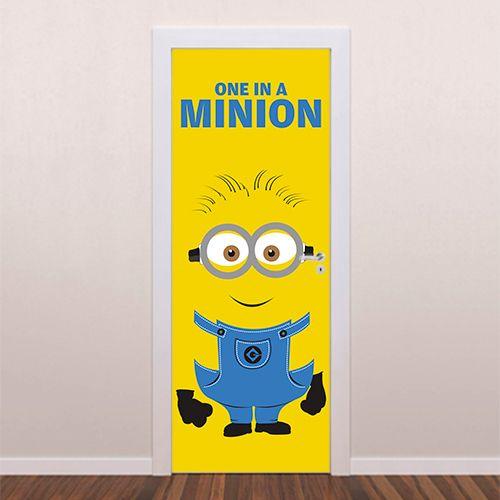 Adesivo decorativo para porta One In a Minion é um adesivo ideal para decoração de portas. Decore sua casa com adesivos de porta e personalize seu ambien...