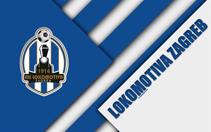 Download wallpapers NK Lokomotiva Zagreb, 4k, blue white abstraction, logo, material design, Croatian football club, Zagreb, Croatia, Prva HNL, football, Croatian First Football League
