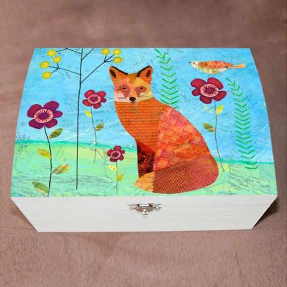 Fox Jewelry Box Wooden Large Jewelry Box Woodland by Sascalia
