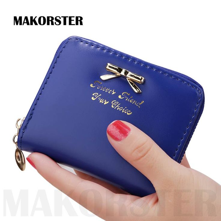 MAKORSTER fashion short Wallet and purse for ladies PU leather mini zipper bow coin purses women money wallets holders XH067