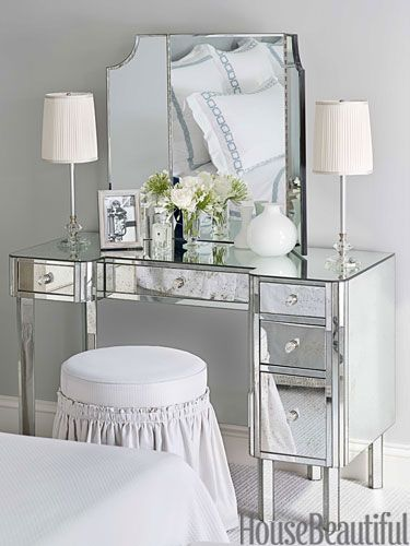 Dressing Table A mirrored dressing table offers another place to put on makeup. 1930s table lamps from Chameleon Fine Lighting.    Read more: Mosaic Bathroom Design - His and Hers Bathroom Decor - House Beautiful