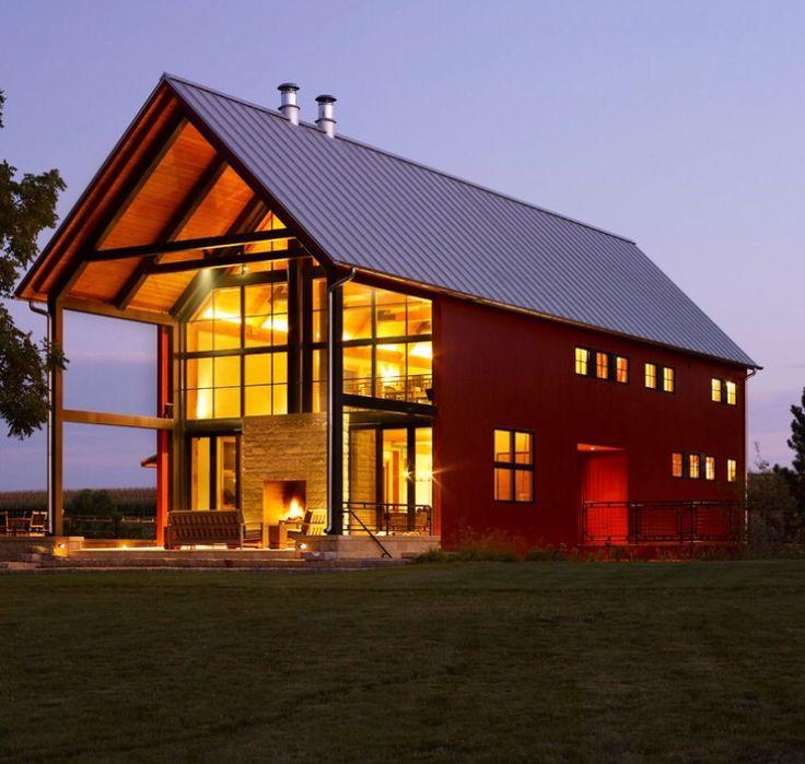 94 best steel frame house images on pinterest for Steel frame barn homes