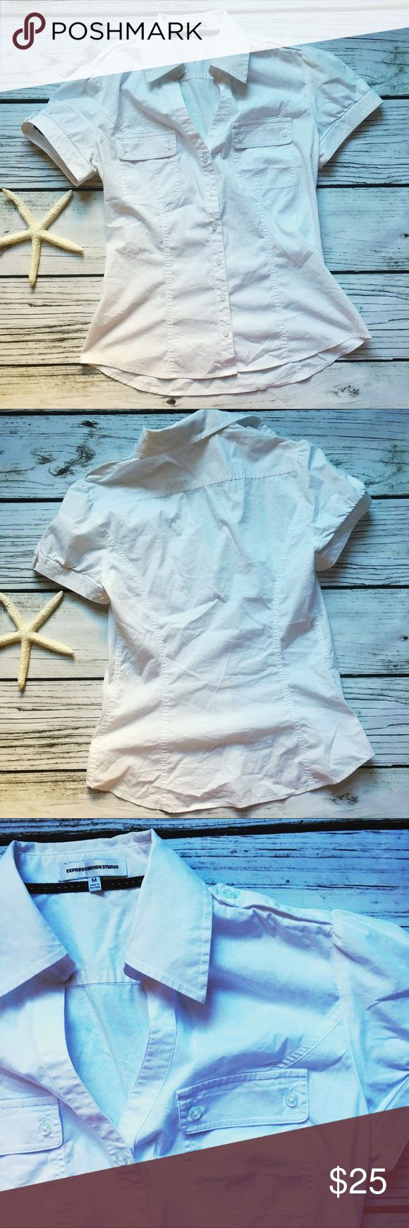 Express Design Studio • White Button Blouse Medium Express Design Studio Button Blouse  Size Medium  White w rushing tailored short sleeve square neck. Excellent condition no rips or stains Express Tops Blouses
