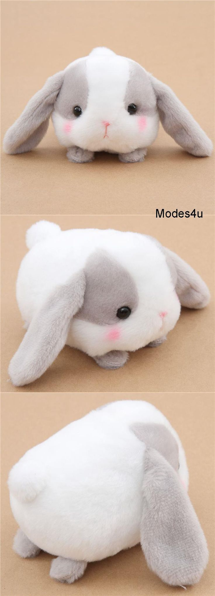 kawaii white and grey bunny rabbit Poteusa Loppy plush toy from Japan