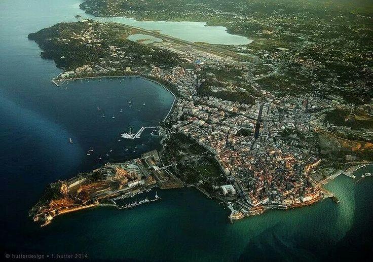 Aerial view corfu town