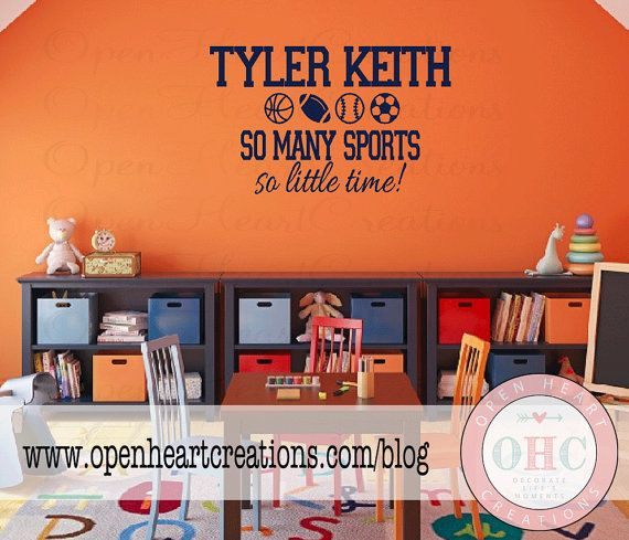 Sports Wall Decal for Playroom Nursery or by openheartcreations, $45.00