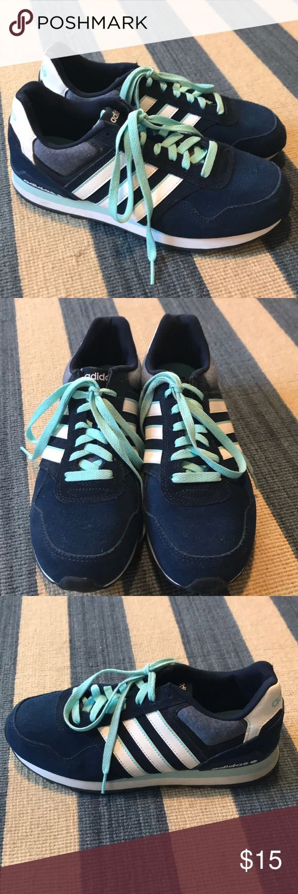Adidas Neo Label Blue/White Sneakers, Ortholite Adidas Neo Label sneakers in navy blue/baby blue white. Very comfortable with Ortholite foam insoles.  Worn outside once. In excellent condition. adidas Shoes Sneakers