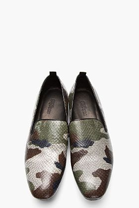 Alexander McQueen Grey Camo Print Python Leather Loafers for men | SSENSE