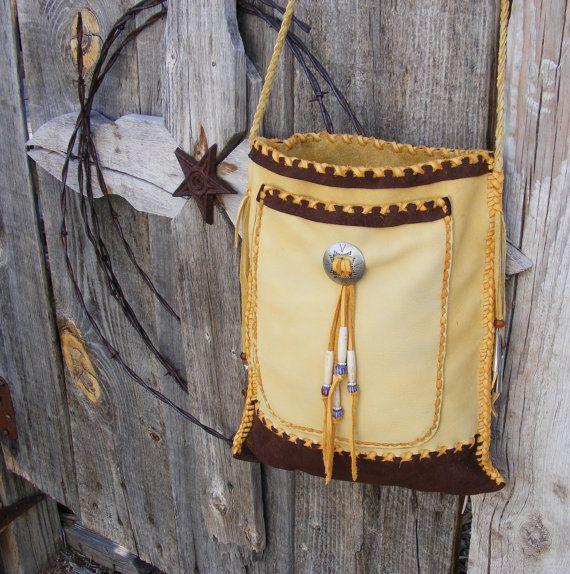 INDIAN MOON deerskin leather 2 pocket Cross Shoulder Purse