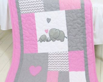 Pink Baby Blanket  Elephant  Crib Quilt Girl by Customquiltsbyeva